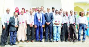 L'ambassadeur palestinien Hazem M. Shabat aux côtés du Pr. Anwar Hussein Subratty et des invités